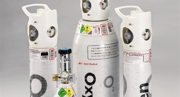 A group of integral valve oxygen cylinders including; CD (2 Litre), ZC (1 Litre) and ZH (8 Litre)